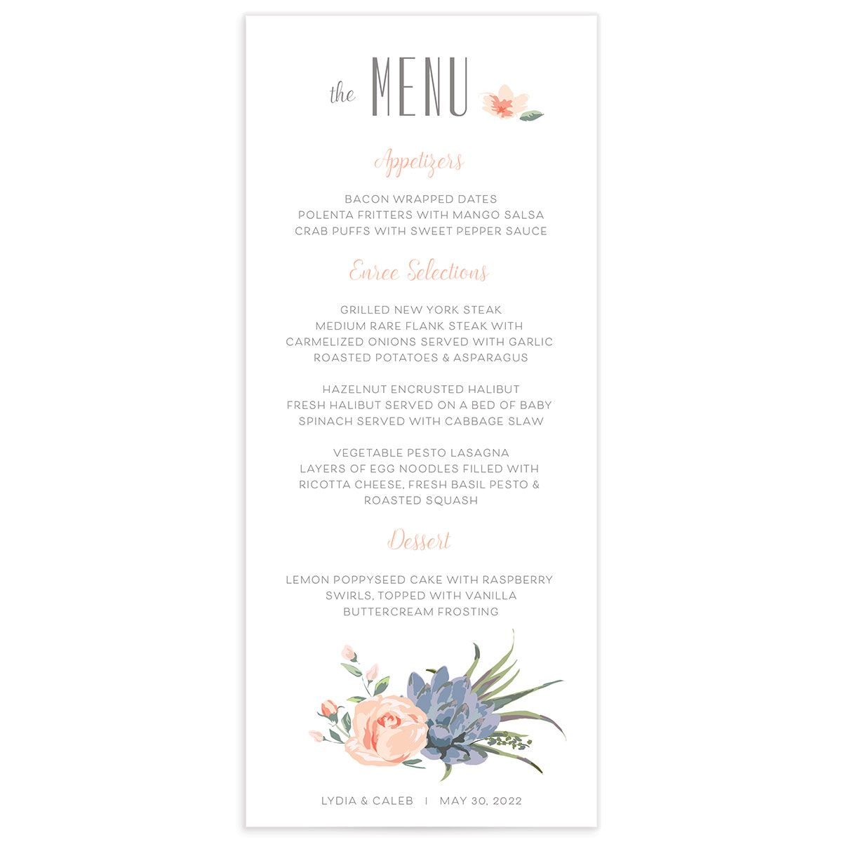 Romantic Succulents wedding menu front pink
