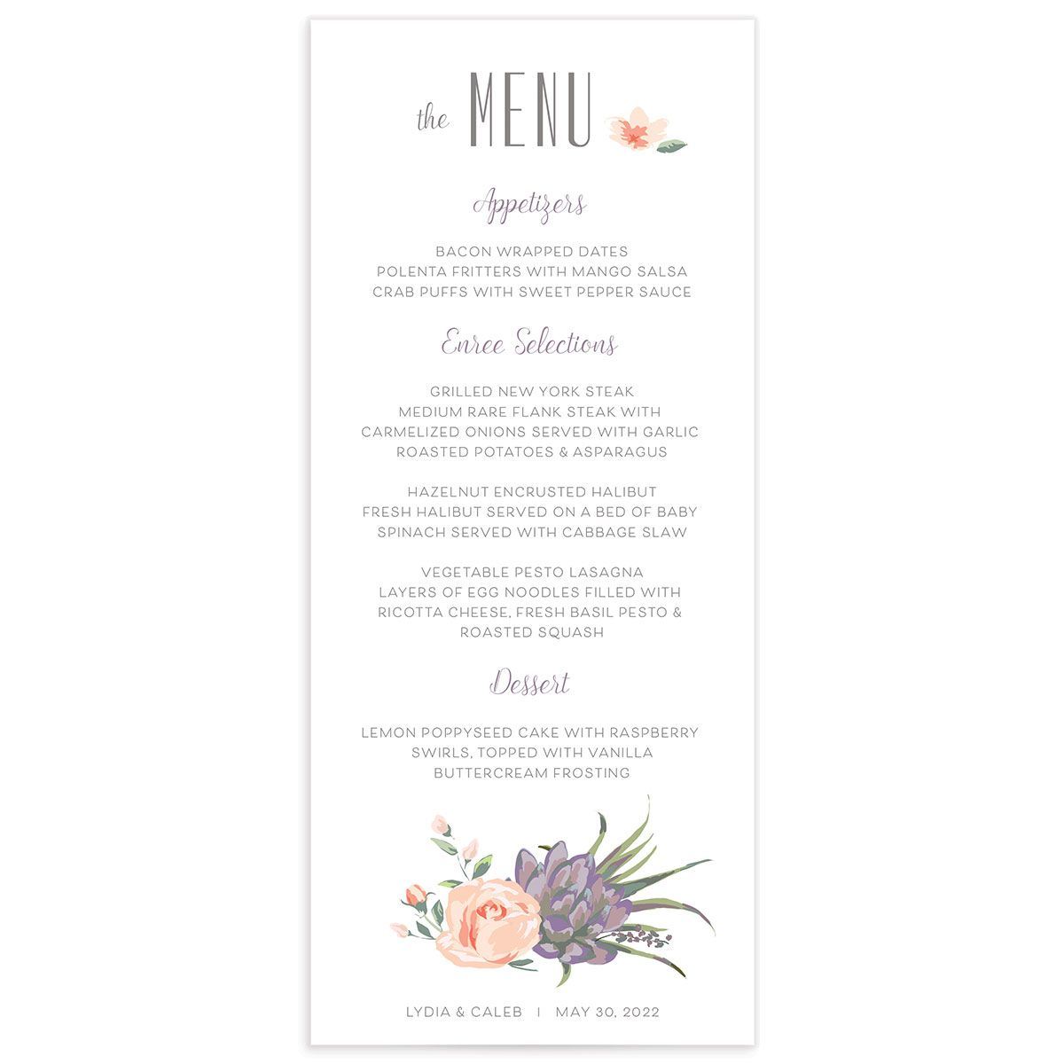 Romantic Succulents wedding menu front purple