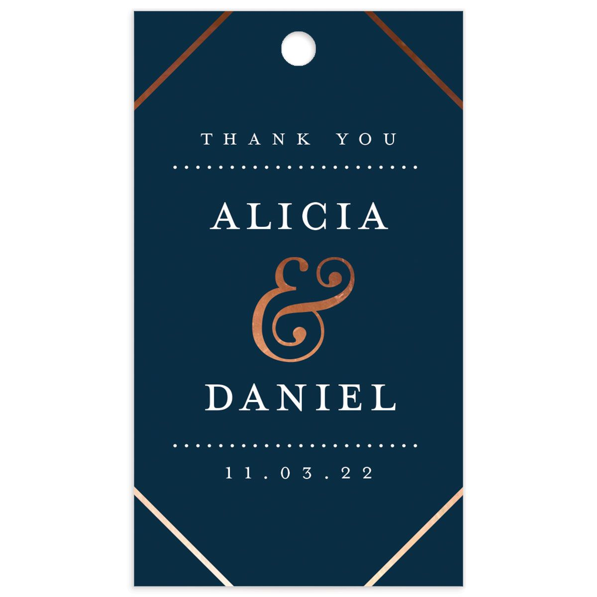 Formal Ampersand Wedding Gift Tag front blue