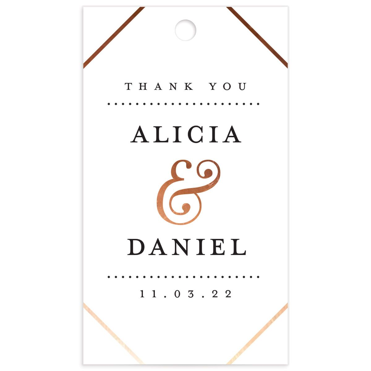 Formal Ampersand Wedding Gift Tag front white