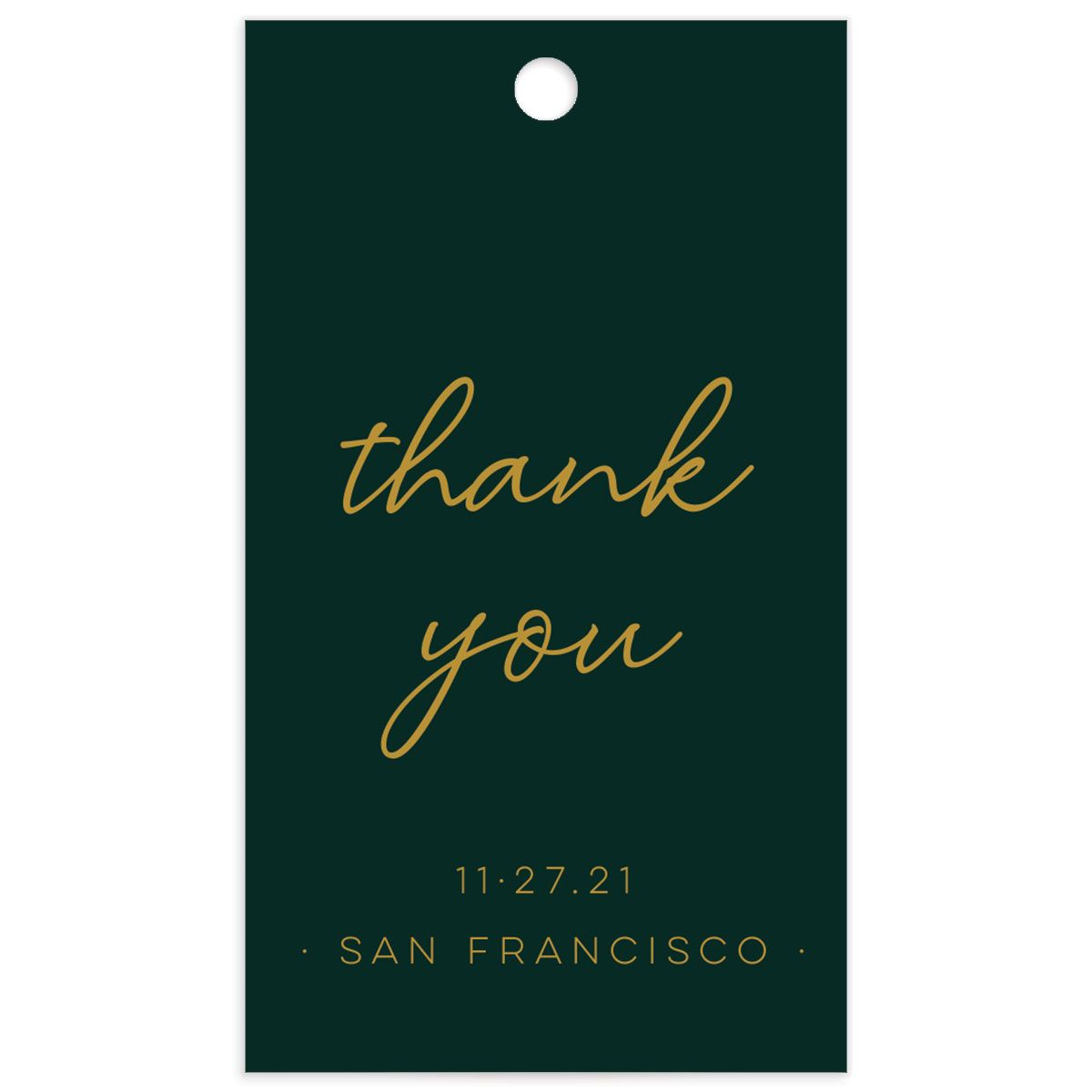 Gold Calligraphy Favor Gift Tag front green