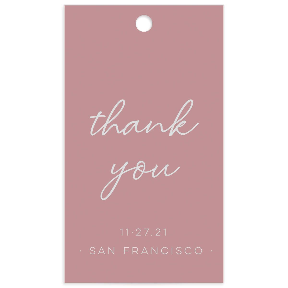 Gold Calligraphy Favor Gift Tag front pink