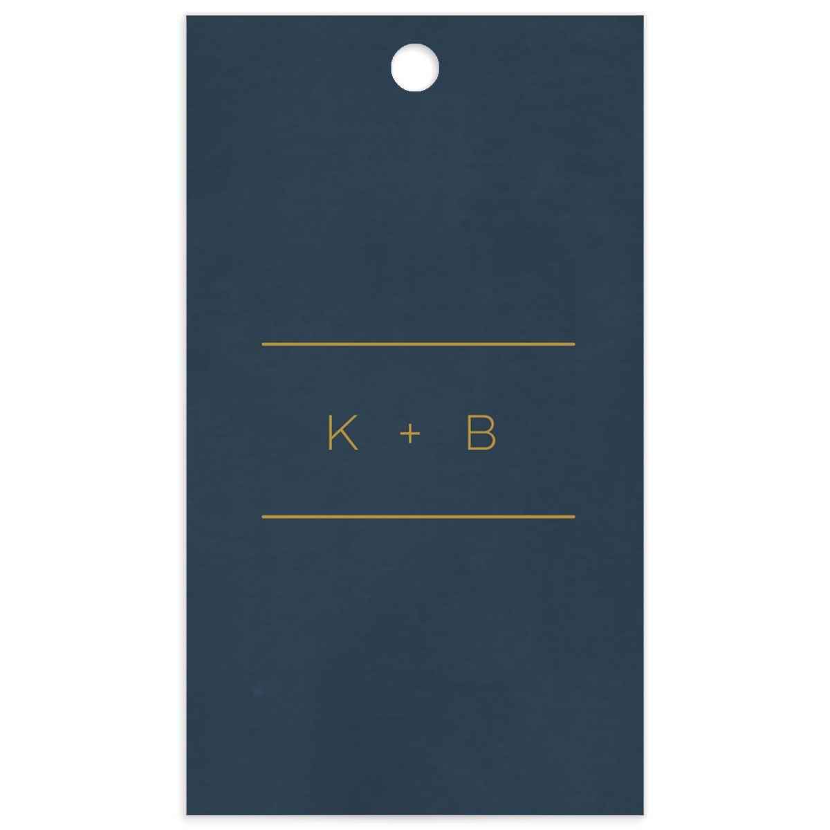 Gold Calligraphy Favor Gift Tag back blue