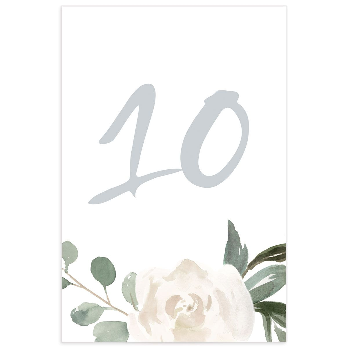 Wintry Floral Table Number front white