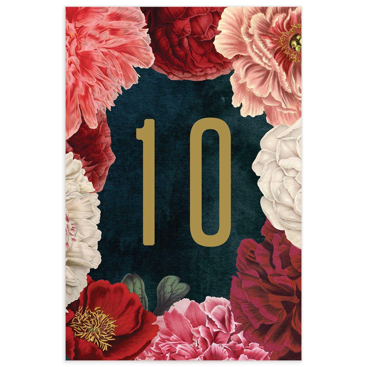 Midnight Peony Wedding Table Number front