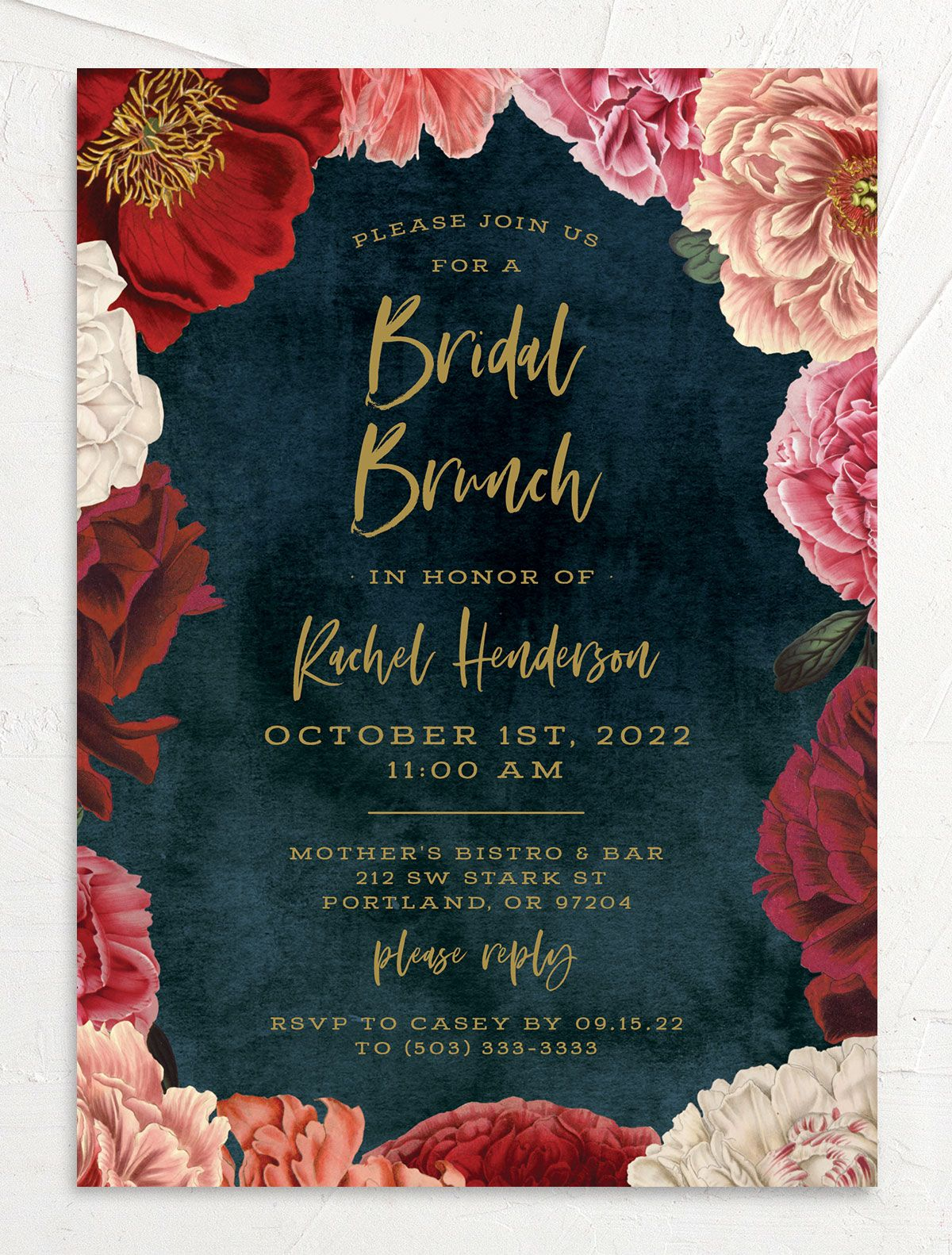 Midnight Peony Bridal Shower Invitation front