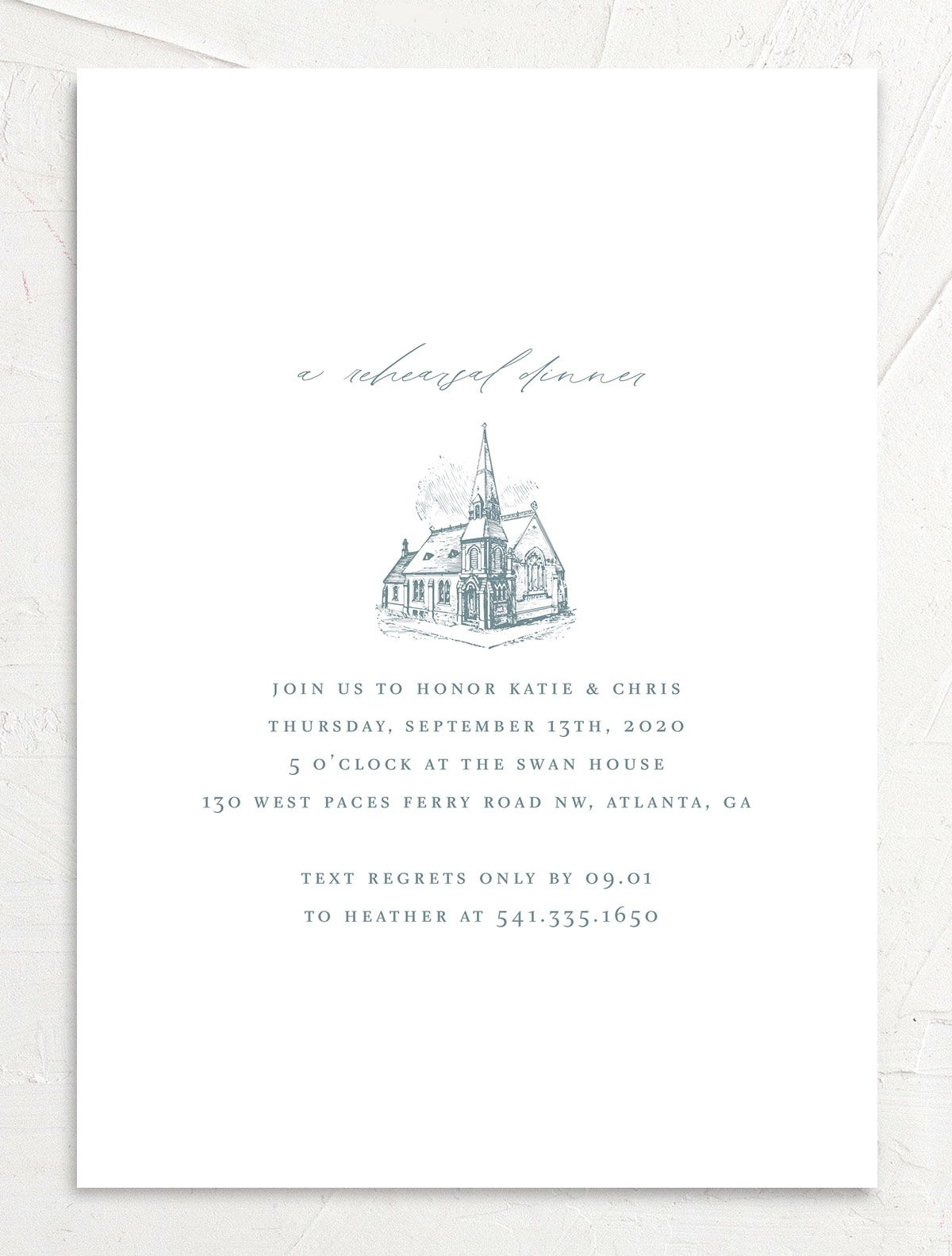 Classic Landscape rehearsal dinner invite in blue chapel