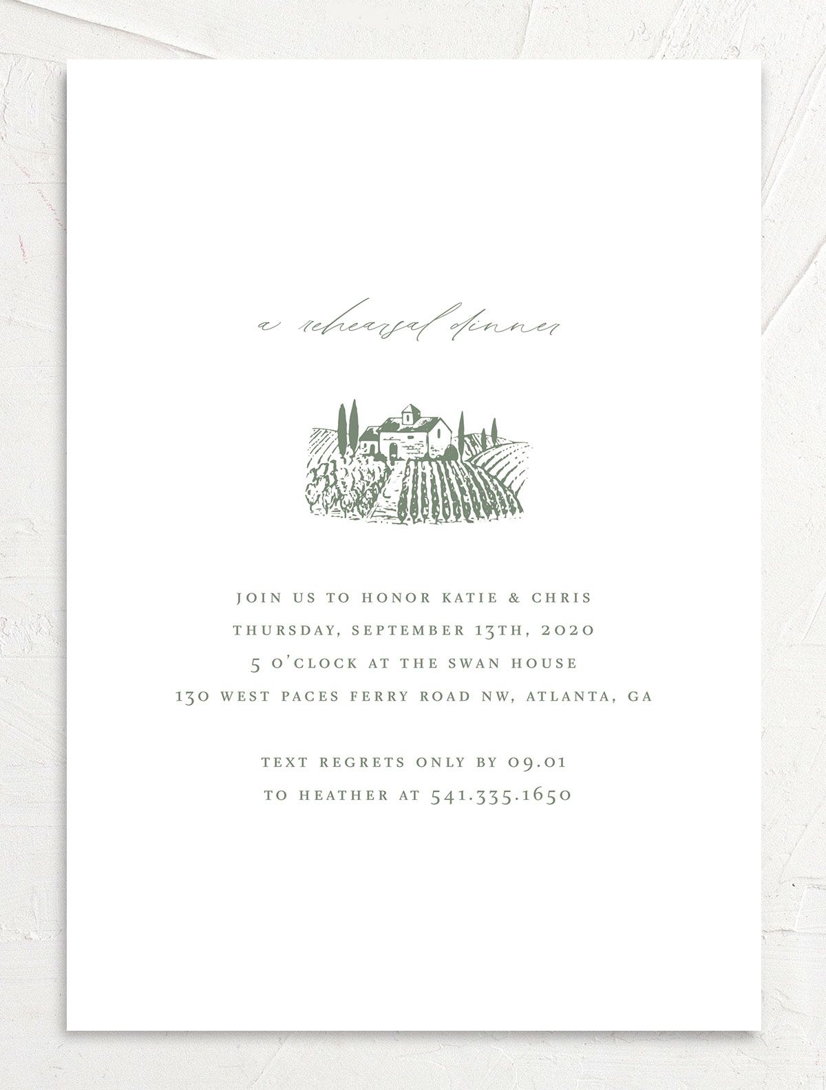 Classic Landscape rehearsal dinner invite in green winery