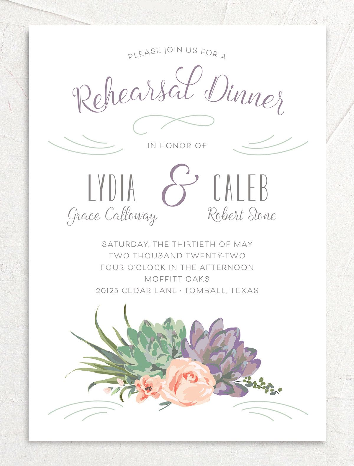 Romantic Succulents rehearsal dinner invitation front purple