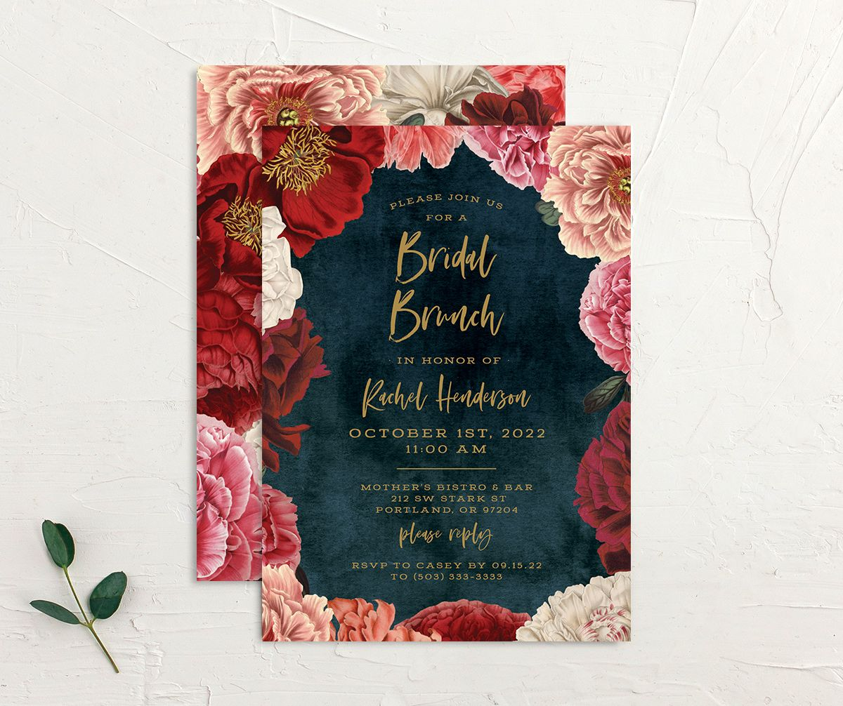 Midnight Peony Bridal Shower Invitation front and back