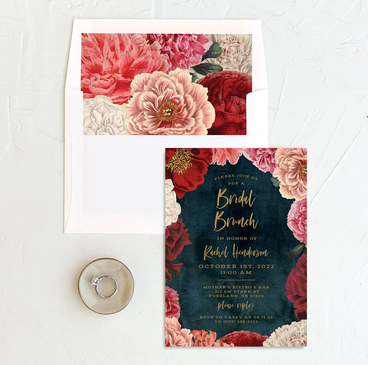 Midnight Peony Bridal Shower Invitation and Envelope Liner