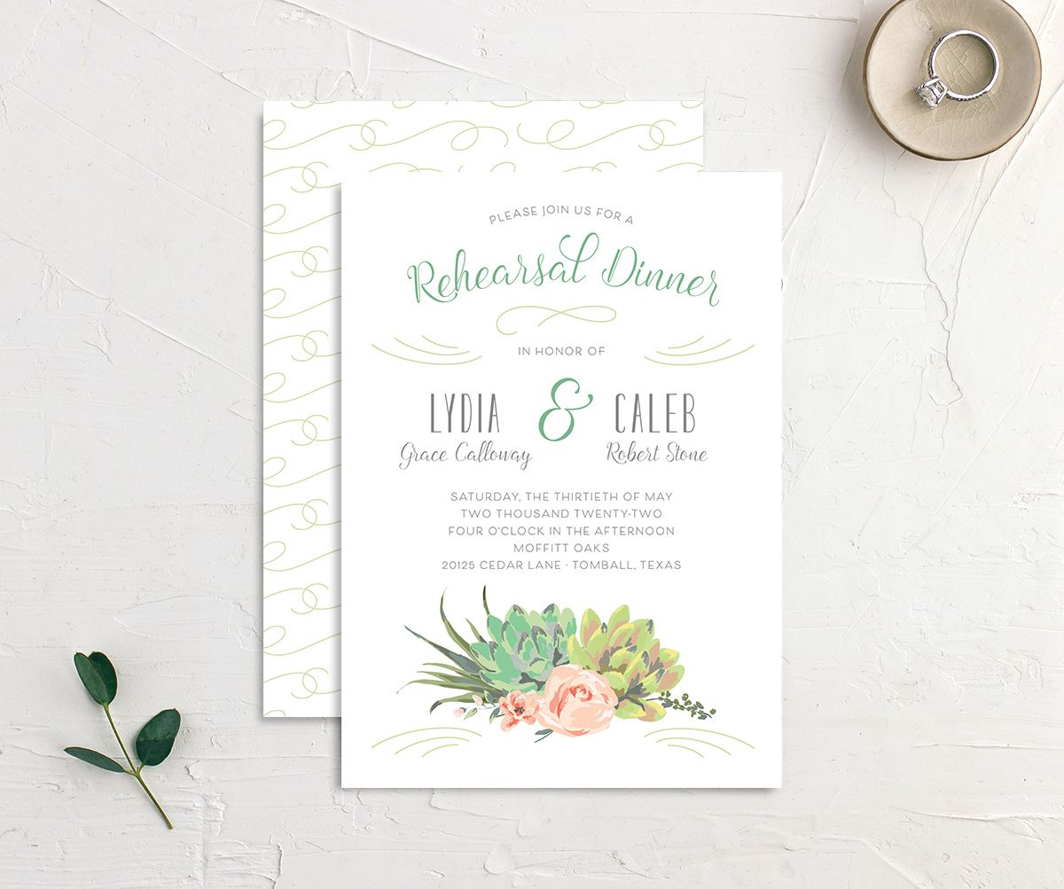 Romantic Succulents rehearsal dinner invitation front and back green