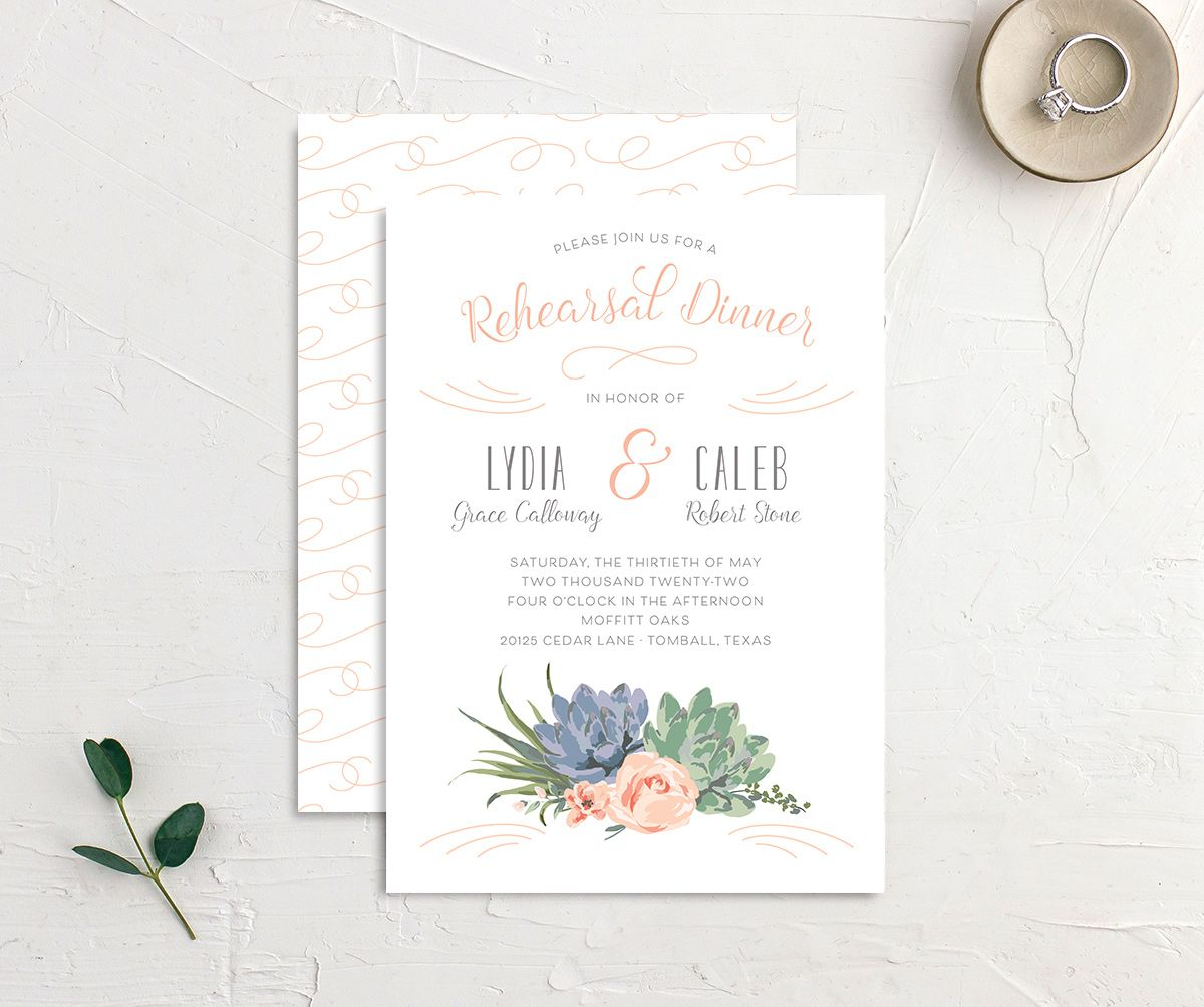 Romantic Succulents rehearsal dinner invitation front and back pink