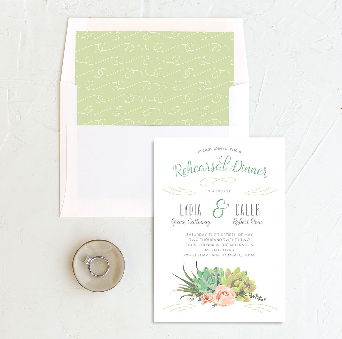 Romantic Succulents rehearsal dinner invitation with liner green