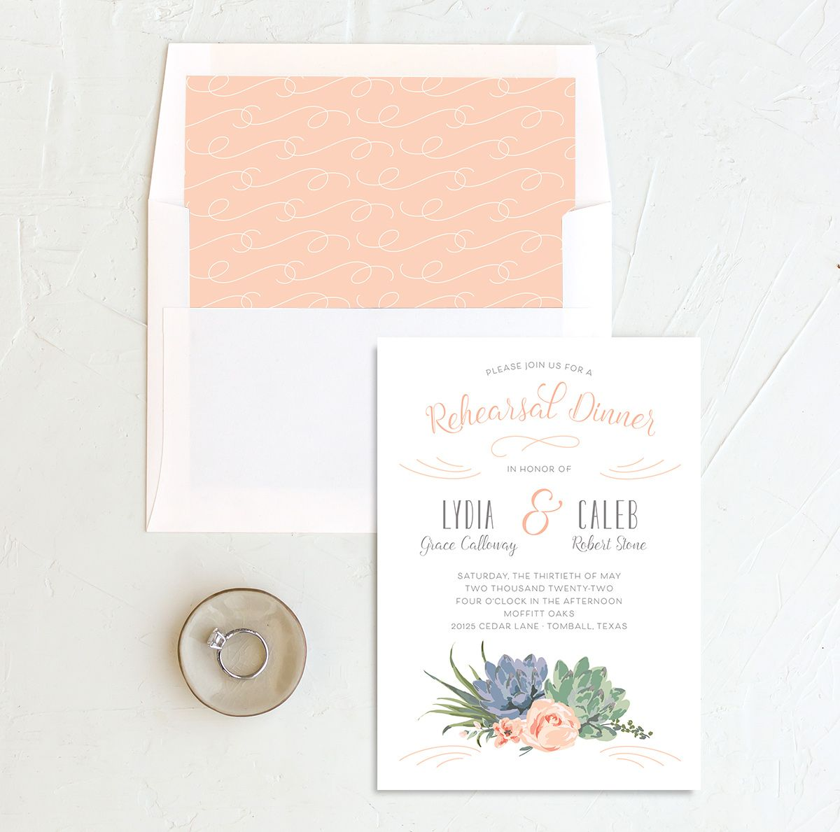 Romantic Succulents rehearsal dinner invitation with liner pink