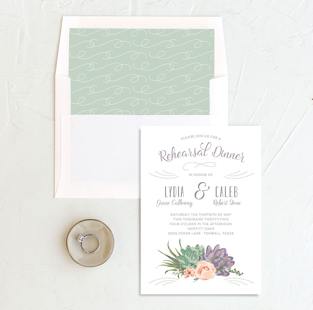 Romantic Succulents rehearsal dinner invitation with liner purple
