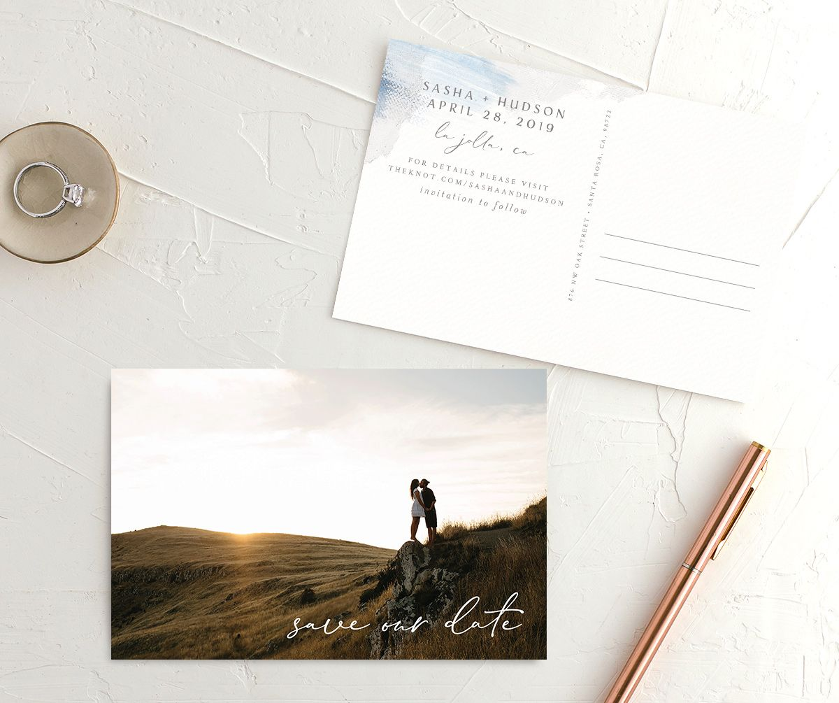 Minimal Brush Save the Date postcard blue