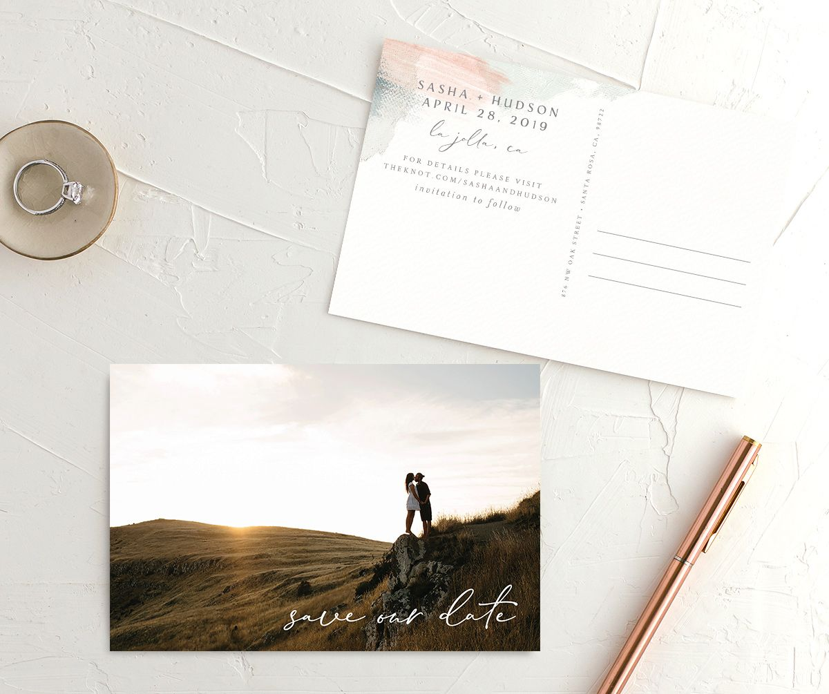 Minimal Brush Save the Date postcard green