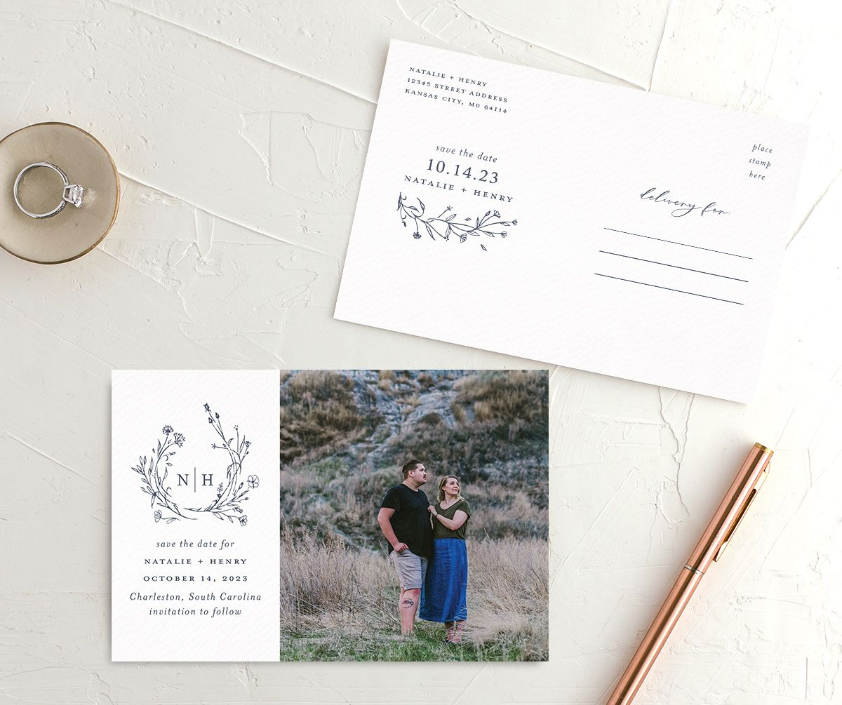 Natural Monogram Save the Date Postcard front and back blue