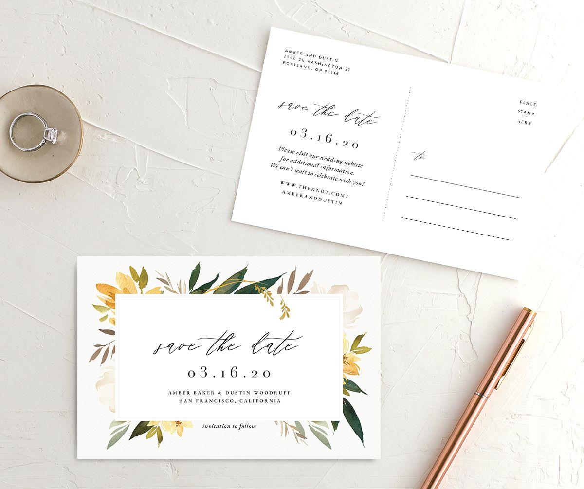 Neutral Greenery Save the Date Postcard front and back yellow