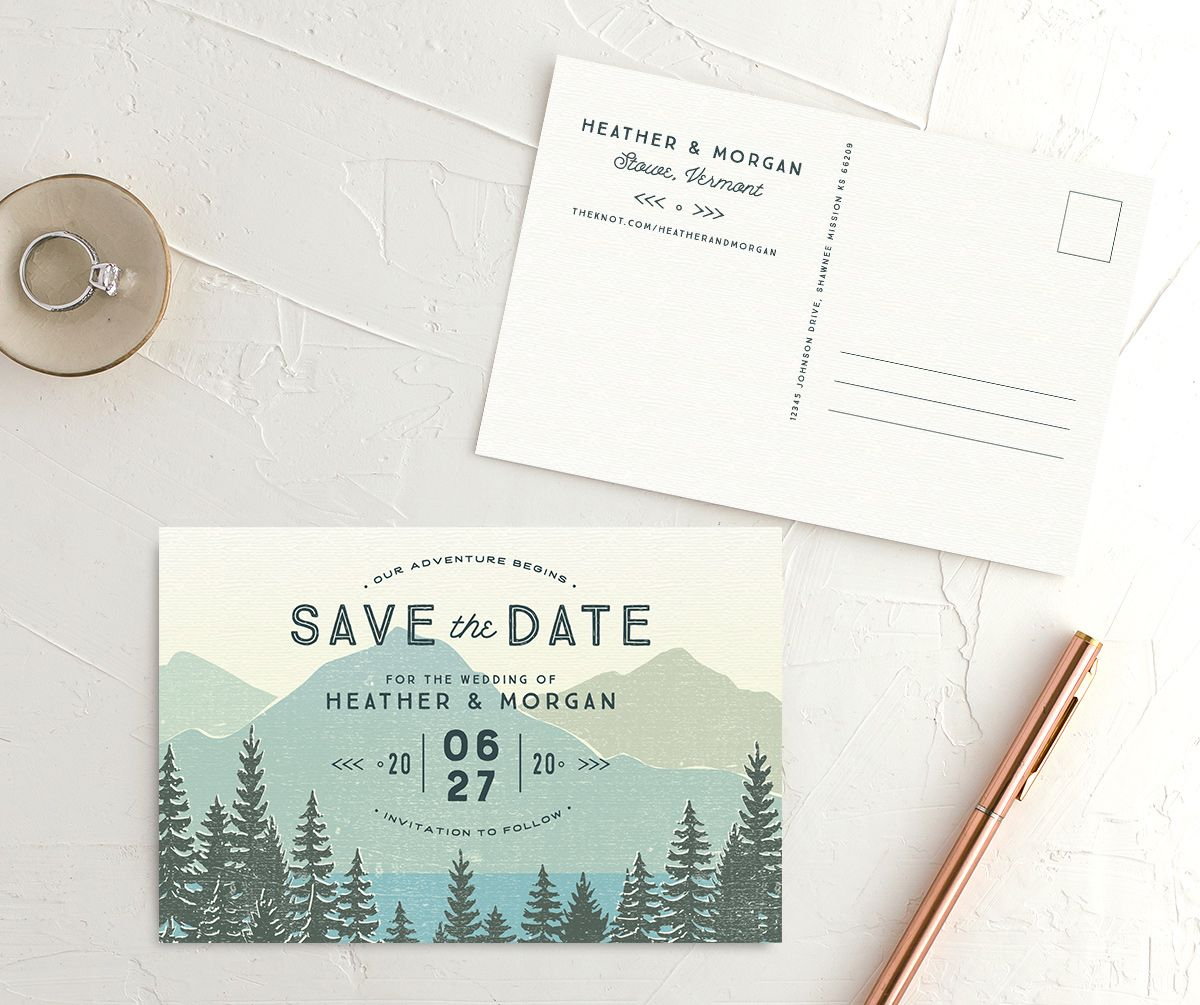 Vintage Mountain Save the Date Postcard front and back