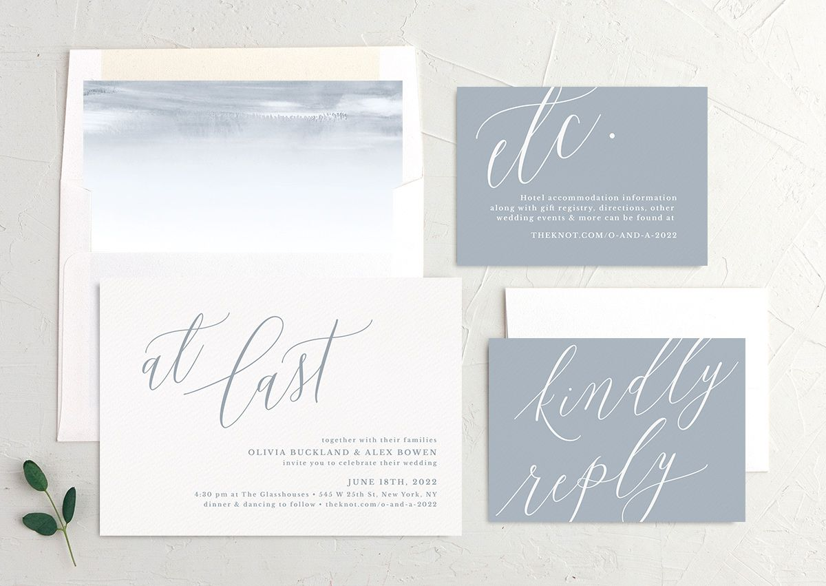 At Last wedding invitation suite blue
