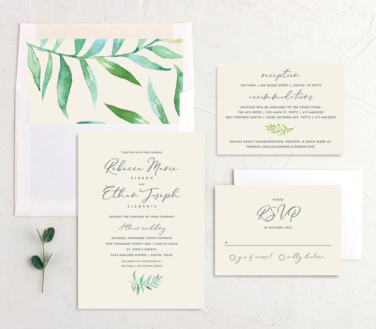 Calligraphic Botanical Wedding Stationery Suite cream