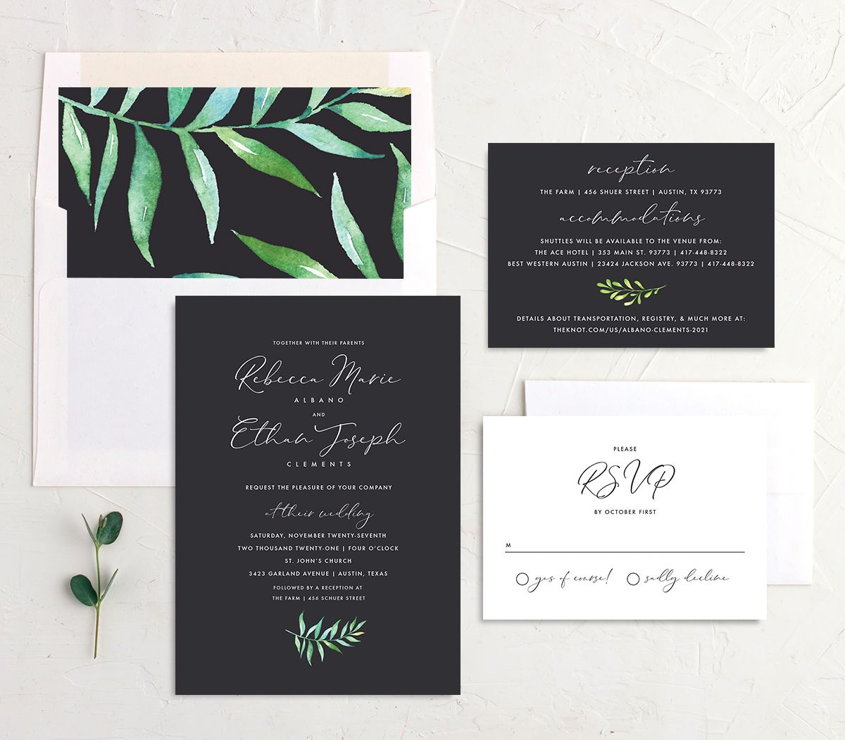 Calligraphic Botanical Wedding Stationery Suite grey