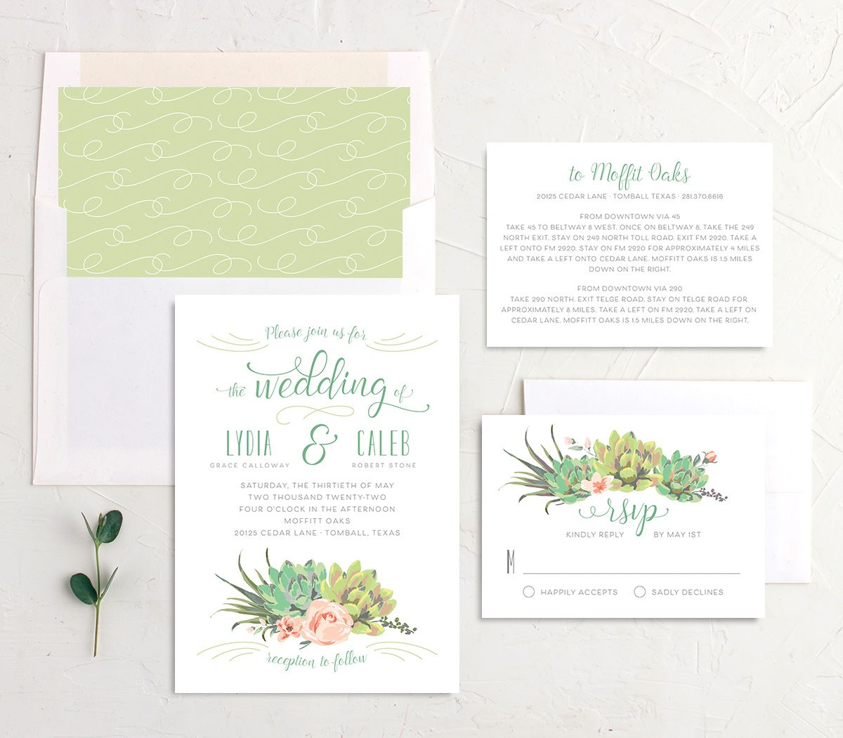 Romantic Succulents wedding invitation suite green