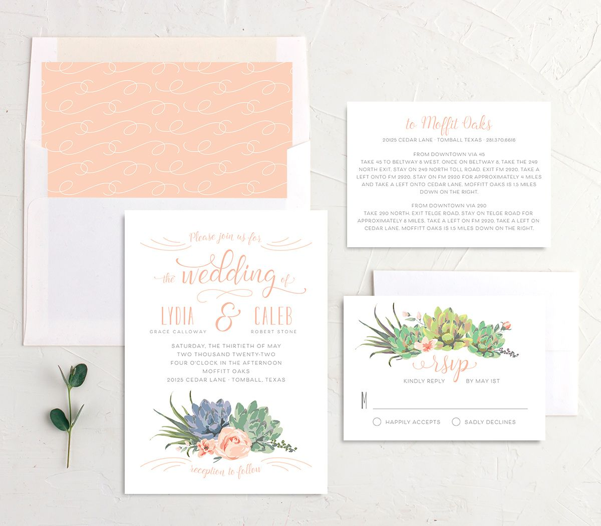 Romantic Succulents wedding invitation suite pink