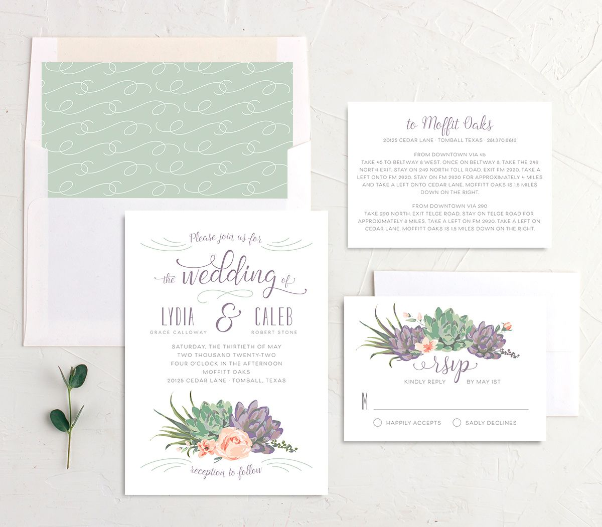 Romantic Succulents wedding invitation suite purple