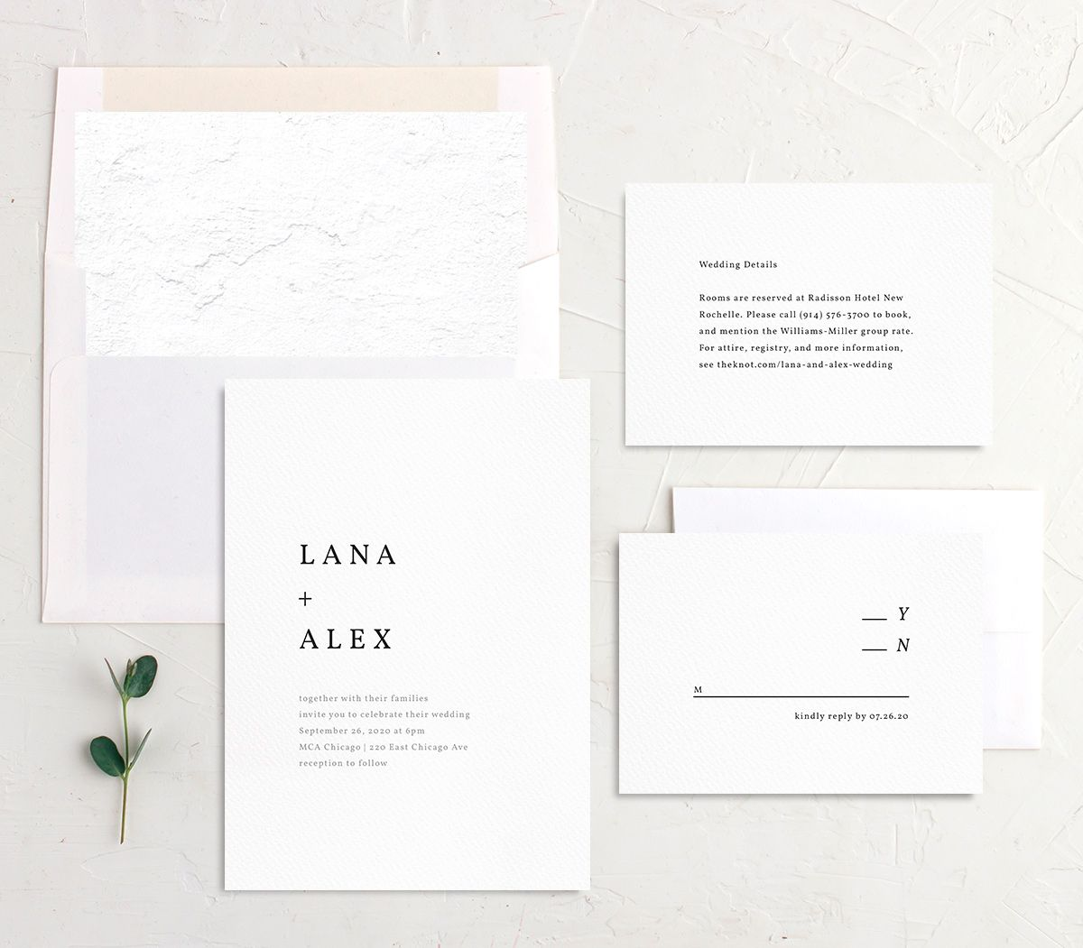 Natural Palette wedding invitation suite white