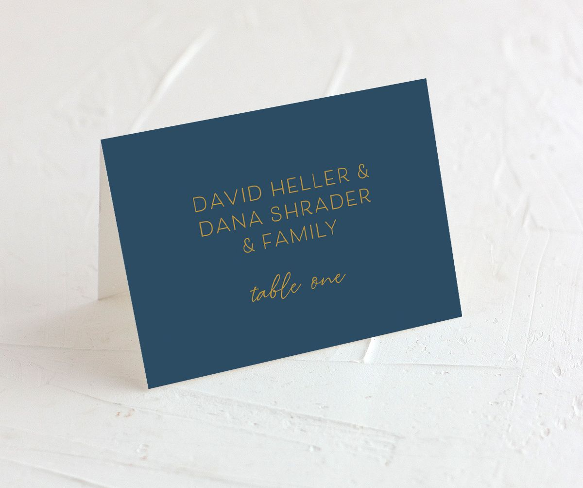 Gold Calligraphy Place Card front blue