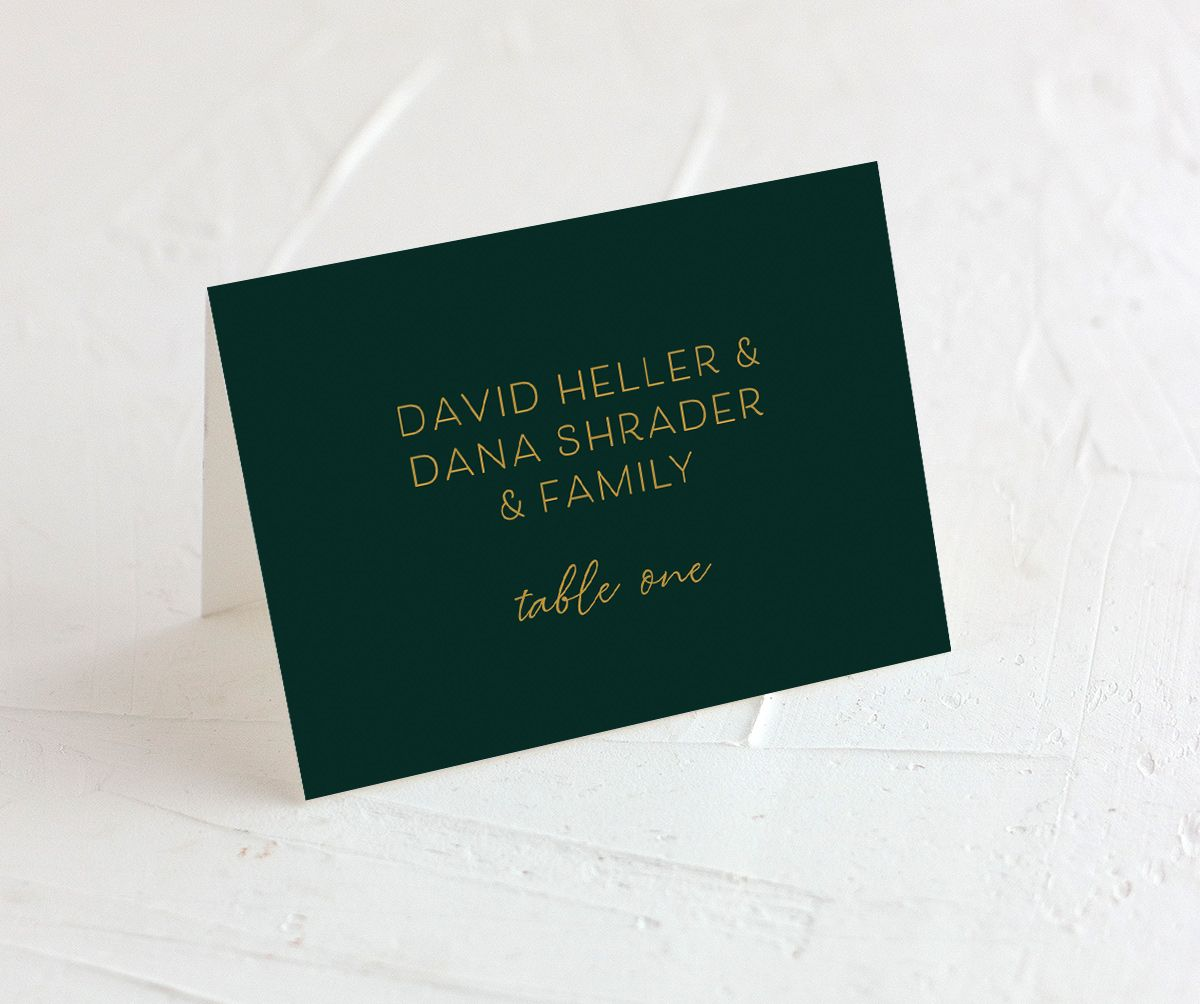 Gold Calligraphy Place Card front green