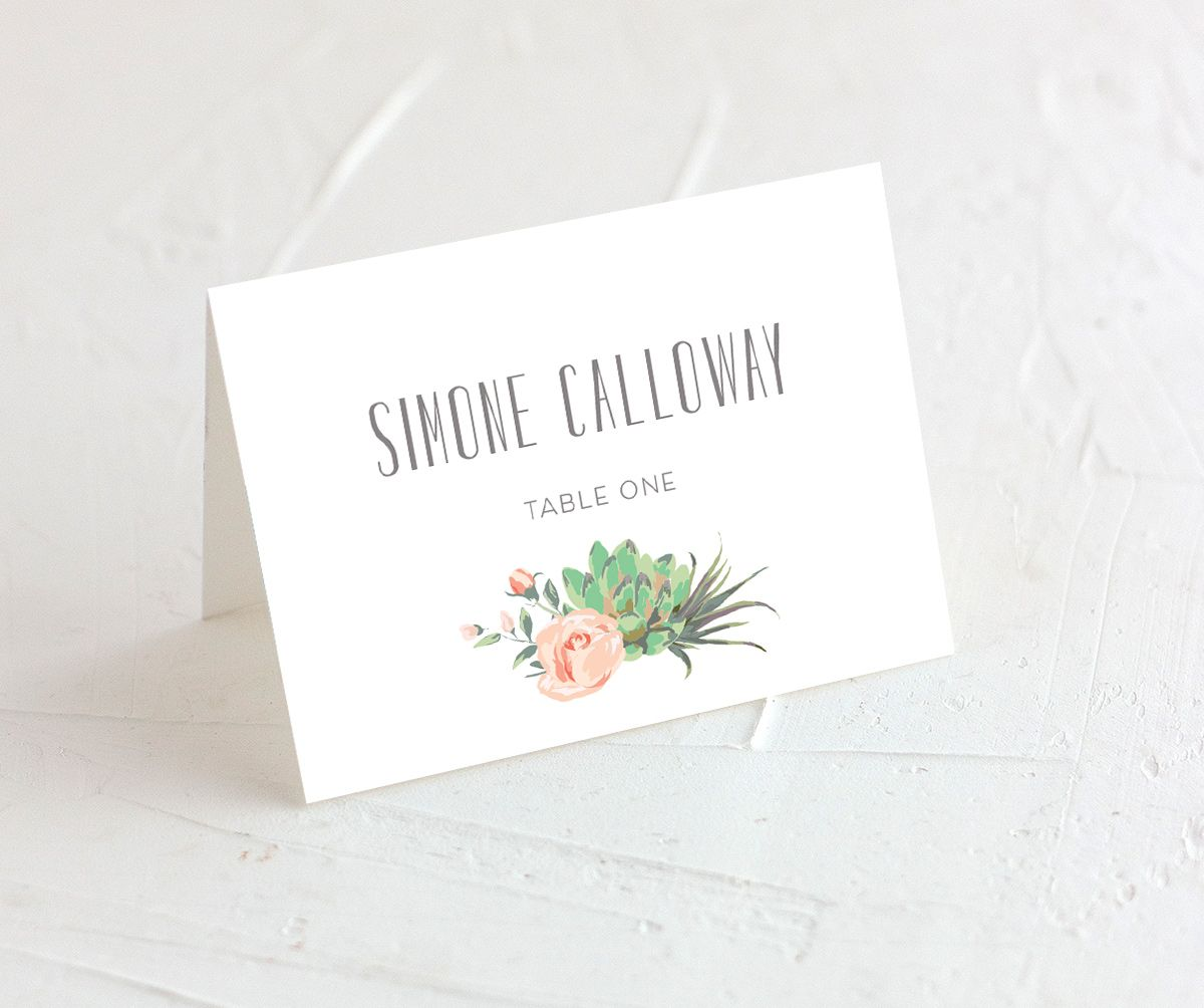 Romantic Succulents place card green