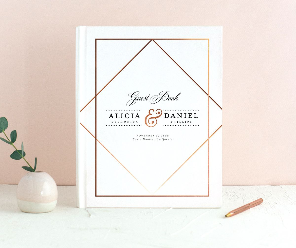 Formal Ampersand Wedding Guest Book white