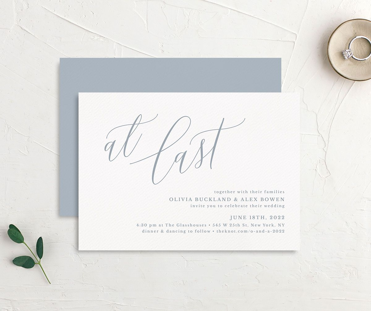 At Last wedding invitation front and back blue