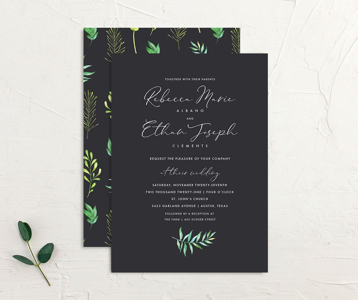 Calligraphic Botanical Wedding Invitation Front and Back grey