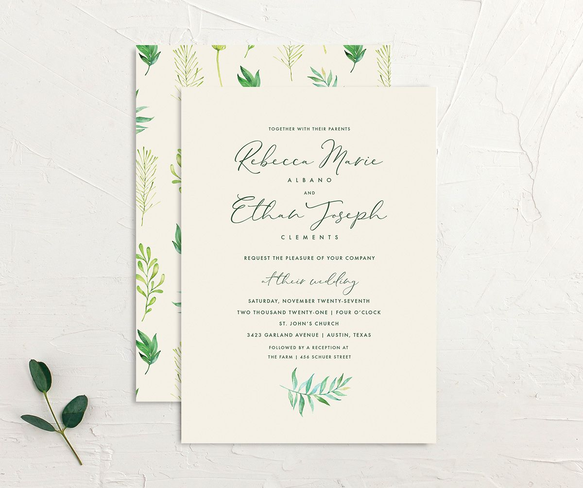 Calligraphic Botanical Wedding Invitation Front and Back cream