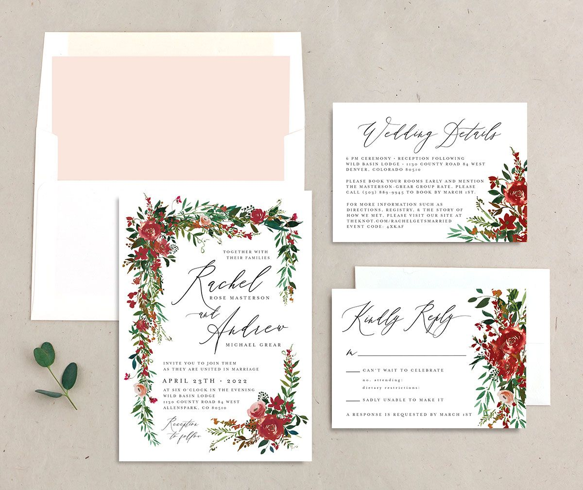 Cascading Altar Wedding Stationery Suite burgundy