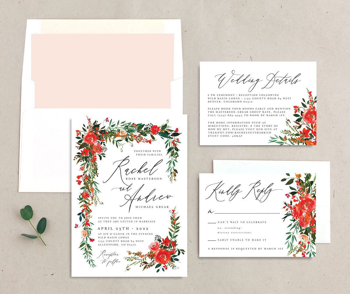 Cascading Altar Wedding Stationery Suite orange