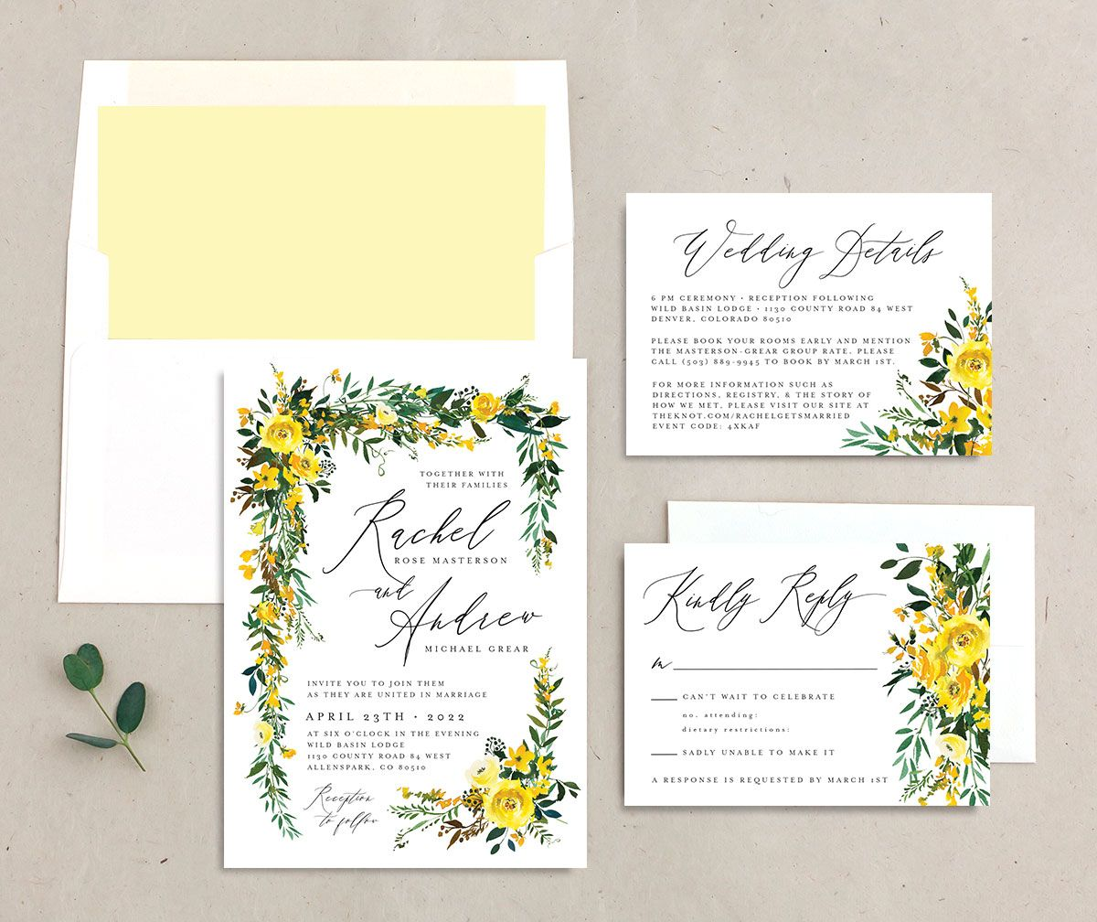 Cascading Altar Wedding Stationery Suite yellow