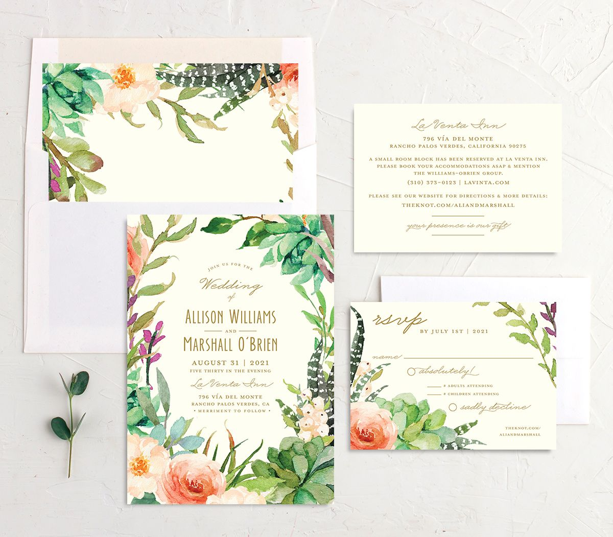 Elegant Oasis Wedding Stationery Suite