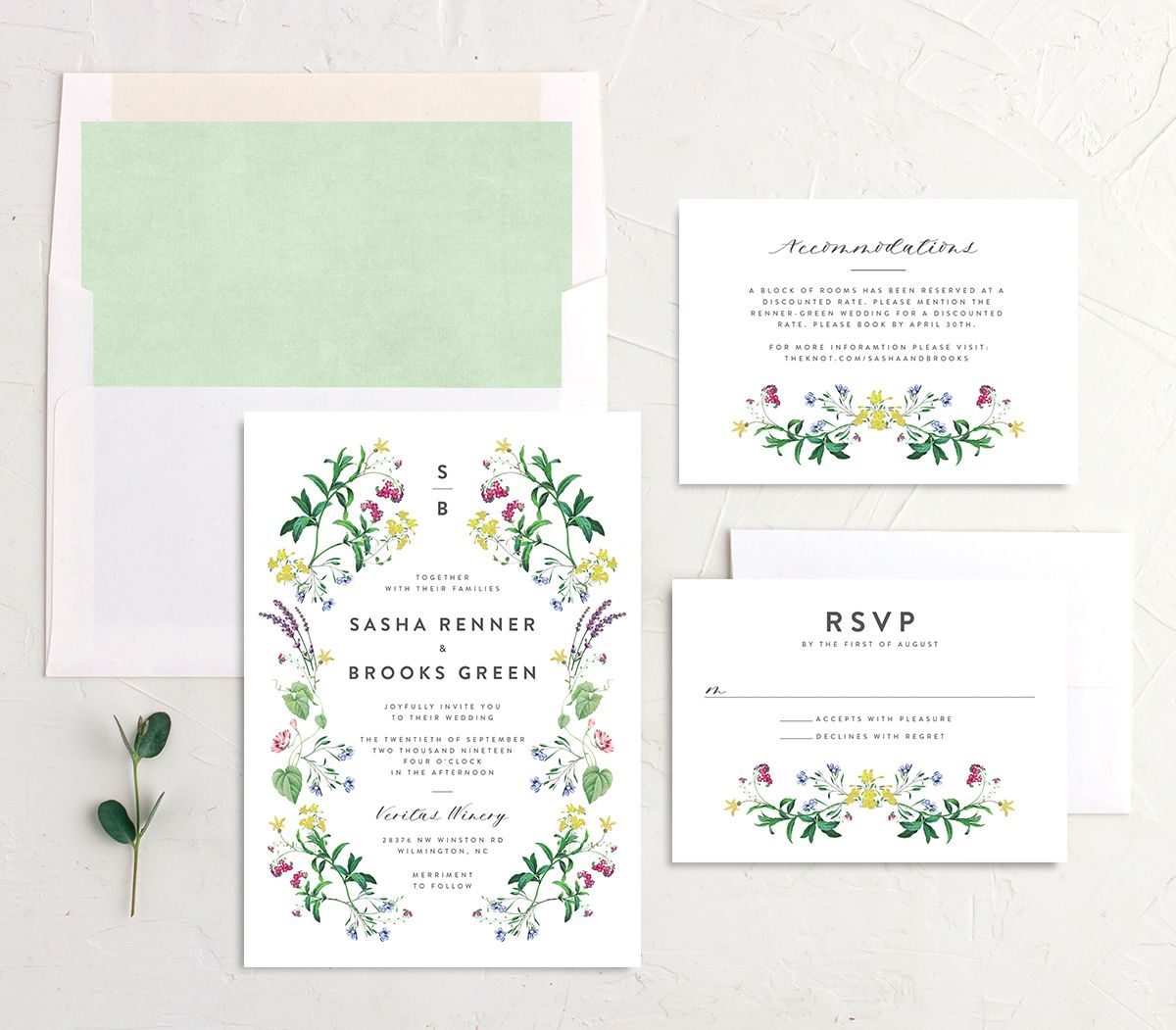 Enchanted Wildflower Wedding Suite green