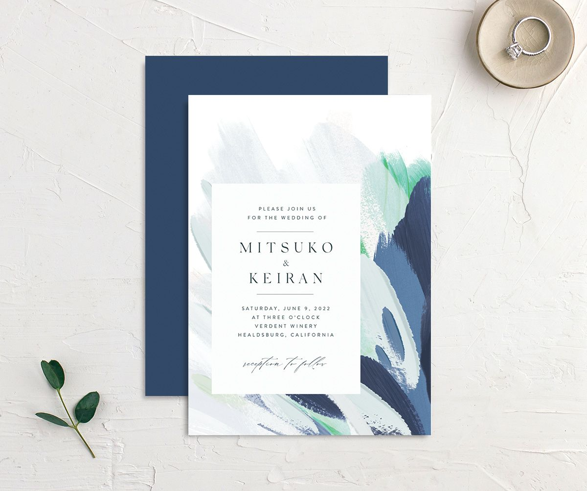 Floral Abstract Wedding Invitation front and back blue