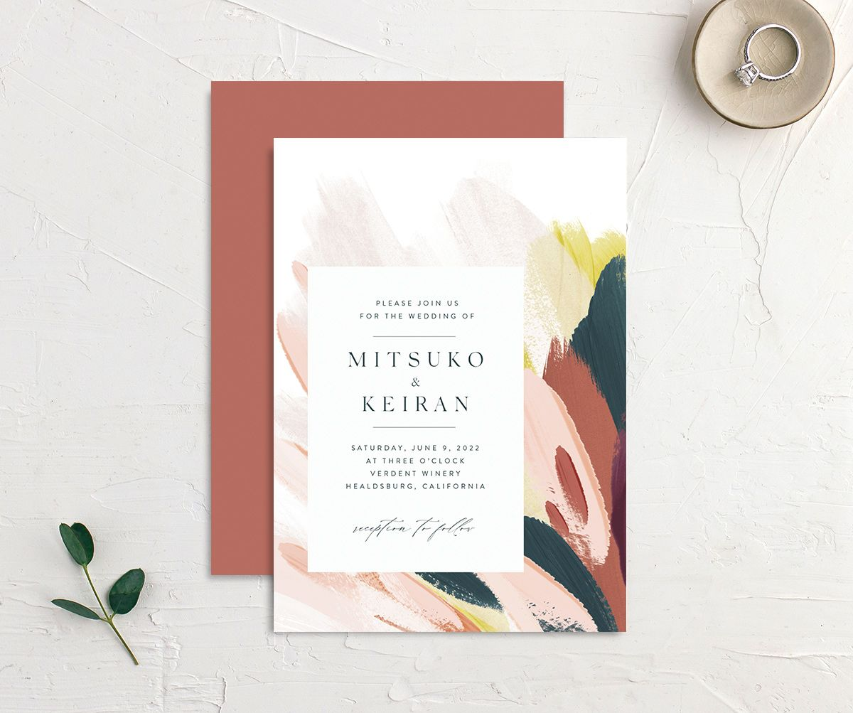 Floral Abstract Wedding Invitation front and back pink