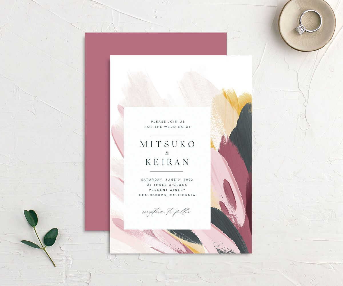 Floral Abstract Wedding Invitation front and back purple