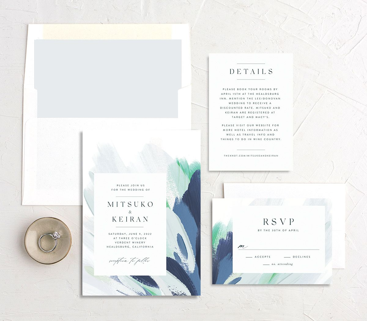 Floral Abstract Wedding stationery suite blue