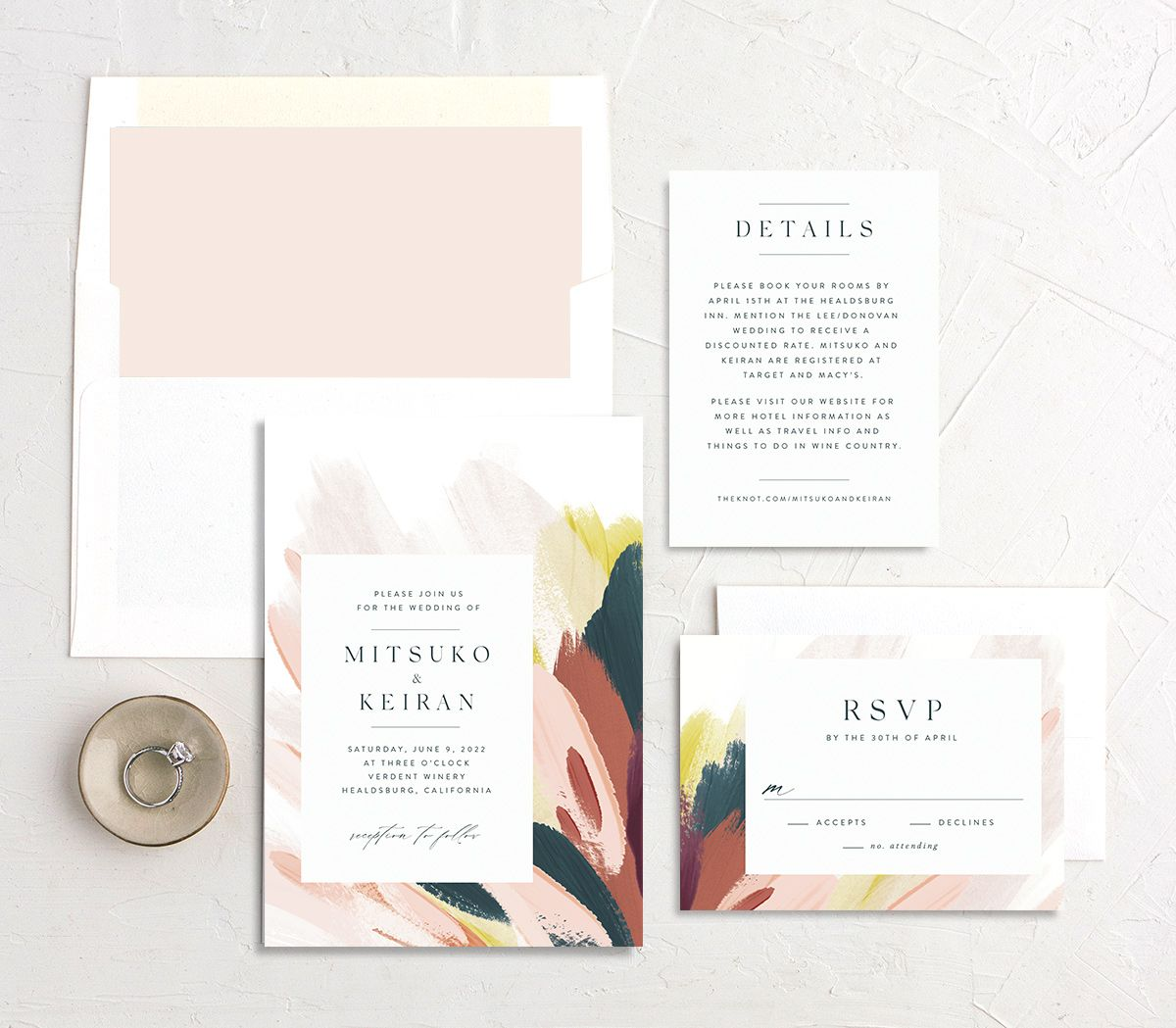 Floral Abstract Wedding stationery suite pink