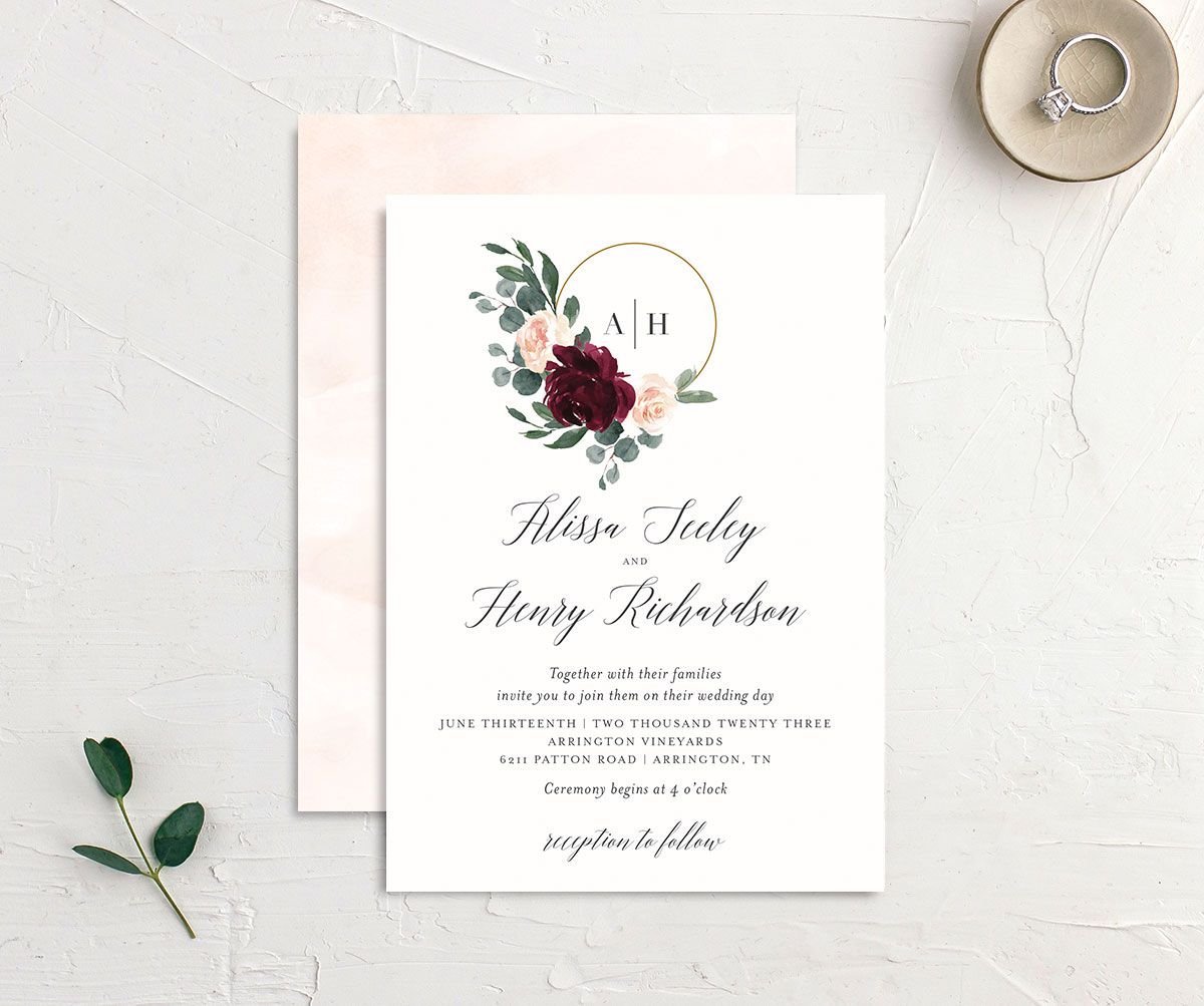 Floral Hoop Wedding Invitation front and back red